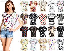 Girls Birds Print Summer Chiffon T-shirt Tops Casual Short Sleeve Blouse Size L