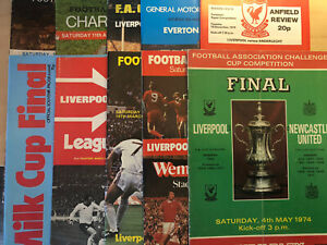 10 Mixed Liverpool FC Cup Final Match Football Programmes From 1974-1986