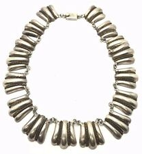Vintage Oxidized Modernist Mexico Sterling 925 Ridged Shell Statement Necklace