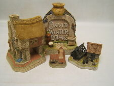 David Winter Cottages lot of 3 Bldgs & Pot Arch, John Hine Studio Guc