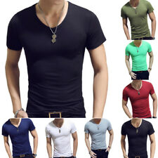 Men Casual Muscle T-Shirt Short Sleeve Slim Fit Cotton Blouse Basic Tee Shirt
