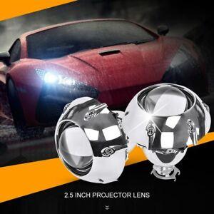 2x 2.5 inch Car Retrofit HID Bi-Xenon Headlight Projector Lens Shrouds H1 H4 H7