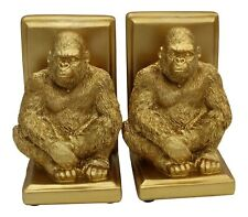Gold Bookends. Set of 2 Gold Gorilla Bookends Heavyweight Resin
