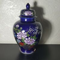 Beautiful Cobalt Blue Floral Wagon Porcelain Gold Trim Urn /Vase /Jar With Lid