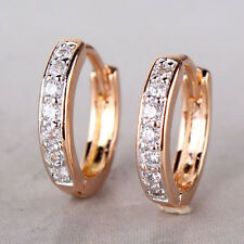 Vogue 18k Gold Platinum filled girl's white topaz engagement royal hoop earring
