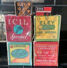 Set Of 6 X Vintage Military Cartridges Ammunition Empty Boxes ICIL CIVIC ELEY