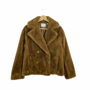 Vince Small Double Breasted Faux Fur Plush Jacket