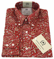 Relco Paisley Shirt Red Platinum Collection Long Sleeve Mod Retro Vintage Mens