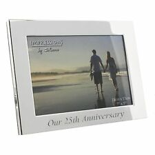 """Our 25th Silver Wedding Anniversary Silverplated Photo Frame Gift Box 7 x 5 """""""