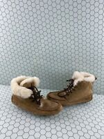UGG CHIKAREE Chestnut Suede Fur Lined Lace Up Moccasin Slipper Boots Womens Sz 6