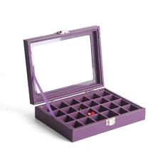 Jewelry Box Necklace Ring Earring Organizer Case Leather 24 Section