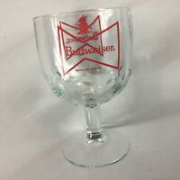 Budweiser Glass VTG Cup Pedestal Footed Thumbprint Dimpled Beer Collectible Cup