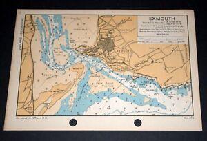 EXMOUTH, Devon - Detailed vintage WW2 Map 1943