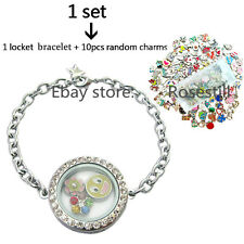 Magnetic Closure Living Memory Crystal Round Locket+Bracelet+10 Floating Charms