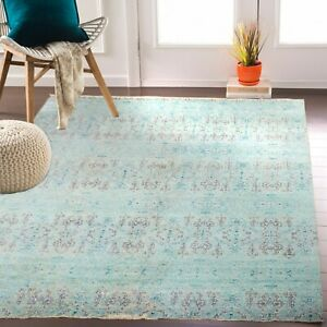 10X14 Turquoise Modern Handknotted Rug Anatolian design #7378 (300x425 Cms.)