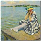 "Stunning Classic Coastal Art ~ Edward Cucuel In the Sun ~ CANVAS PRINT 24x24"""