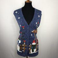 Bobbie Brooks Womens Christmas Sweater Cardigan Vest Ugly Party Plus Sz 14W 16W
