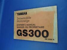 YAMAHA GS300 SNOWMOBILE OWNERS MANUAL 1970 STARTING BREAK IN TROUBLESHOOTING