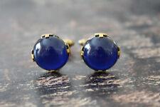Vtg Estate Brass/Gold Tone Cobalt Blue Lucite Stone Prong Set Bubble Cufflinks