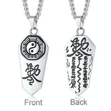 Stainless Steel Polished Chinese Bagua Eight Trigrams Taoist Pendant & Necklace