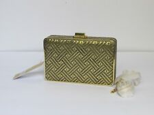 NEW Michael Kors Pearl Medium Clutch Box Crossbody Gold Handbag $178.00