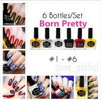 6Bottles/Set Born Pretty Nail Art Stamping Stamp Polish Nail Varnish 15ml #1-6