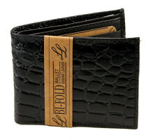 New Alligator Crocodile Print Mens Bifold Leather Wallet Black Id Window Cards