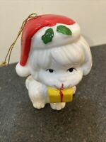 Vintage Bone China White Cat with Yellow Package Christmas Ornament Taiwan