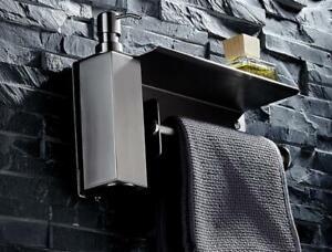 Soap Dispenser Liquid Shampoo Storage Bathroom Paper Towel Holder Wall Shelf