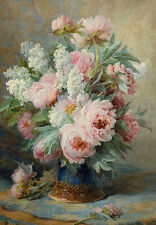 Peonies Peony Provincial Garden Flowers C1800s Painting Canvas Print A3