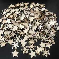 50pcs Wooden Christmas Tree Snowflakes DIY Hanging Ornaments Pendant Home Decor