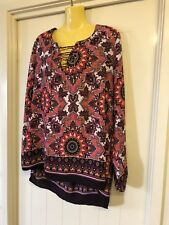 Crossroads Plus Size 20 Pink Multicolour Top Split Sleeve RRP $49.95 BNWT # 929
