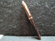 Vtg Sheaffer'S Red & Black Striped Fountain Pen #3, W/ Gold Tip