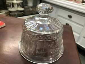 Rare Northwood Peacock at Fountain..Butter Dish Top scarce White carnival