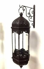 Moroccan Hexagonal Wrought Iron Pending Glass Lantern Elongated Lamp Light