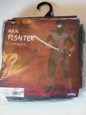 Childs Boy size 8 M Black Ninja Fighter Halloween Costume Decoration