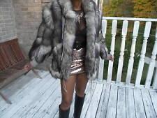 Unique Designer Gray fox tails Fur coat jacket S