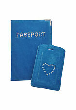 OB -Suede Passport Cover Holder + FREE matching Luggage Tag - great for Travel