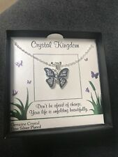 Crystal Kingdom Silver Necklace Butterfly Crystal blu Pendant fine silver plated