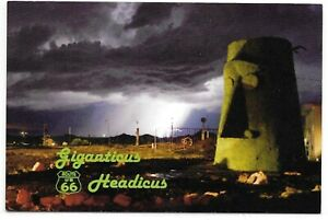 Giganticus Headicus Route 66 Tiki Head Roadside Storm Postcard Kingman AZ CLOSED