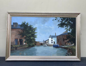 Roy Perry Large Painting Oil On Board 'Banbury Canal Basin' Framed Boats Water