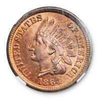 1864 1c Bronze Indian Head Cent NGC MS 65 RD Uncirculated Red Original Surfaces