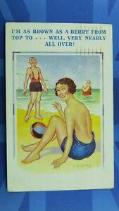 Saucy Donald McGill Comic Postcard 1937 Topless Bathing Beauty Sunbathing