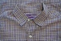 Ralph Lauren Purple Label RLPL Green Blue Plaid Button Up Shirt Sz L Italy