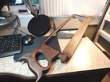 """26 1/4"""" Vtg. Antique? Unmarked Heavy Steel Back Butchers Bone saw 10TPI 2"""" Blade"""