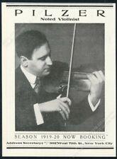 1941 Maximilian Pilzer photo violin recital tour booking trade print ad