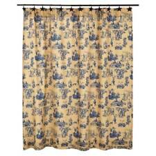 Elaine Azure Bathroom Shower Curtain By VHC Brands