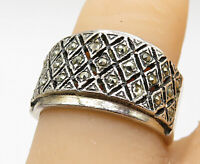 925 Sterling Silver - Vintage Marcasite Decorated Tapered Band Ring Sz 7- R10103