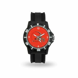 Cleveland Browns NFL Black Rubber Strap Water Resistant Mens Watch
