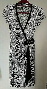 Star By Julien Macdonald  Woman's Black/White Wrap Dress -  Size 8 uk - 36 eur
